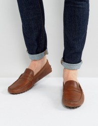ASOS Driving Shoes In Brown Leather - Brown