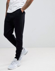 ASOS Drop Crotch Joggers With Zip Cuffs In Black - Black