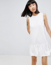 ASOS Dropped Hem Sleeveless Mini Smock Dress - White