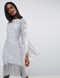 ASOS EDITION All Over Embellished Fringe Dress With Cut Out Back - Grey