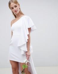 ASOS EDITION asymmetric ruffle wedding dress with high low hem - White