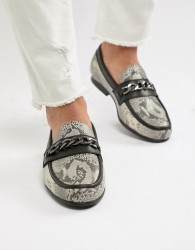 ASOS EDITION loafers in snake print with snaffle - Multi