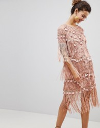 ASOS EDITION Loose T-Shirt Dress with Embroidery and Tassels Mini Dress - Pink