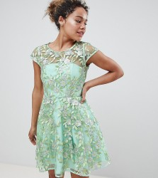 ASOS EDITION Petite sequin embroidered skater mini dress - Green