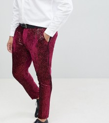 ASOS EDITION Plus super skinny tuxedo suit trousers in allover burgundy sequin - Red