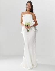 ASOS EDITION Satin overlay bandeau wedding dress with fishtail - White