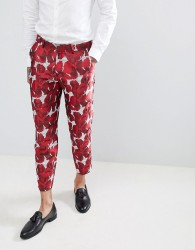ASOS EDITION Skinny Crop Suit Trousers In Red Floral Jacquard - Red