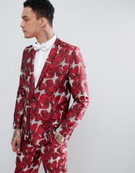 ASOS EDITION Skinny Suit Jacket In Red Floral Jacquard - Red