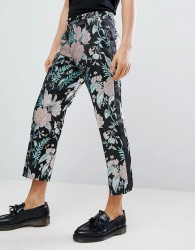 ASOS EDITION straight crop smart trousers in floral jacquard - Black