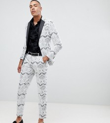 ASOS EDITION Tall skinny tuxedo suit jacket in white lace - White
