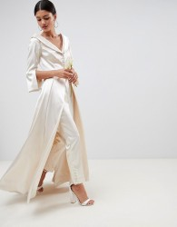 ASOS EDITION wedding satin off the shoulder full length jacket and tapered trouser - White