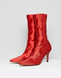 ASOS ELVA Heeled Sock Boots - Red