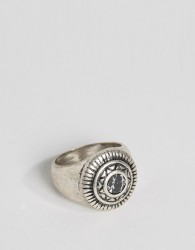 ASOS Embellished Signet Ring With Black Look Stone - Silver