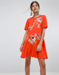 ASOS Embroidered Drop Waist Dress - Orange