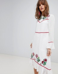 ASOS Embroidered Yoke Western Midi Dress - Cream