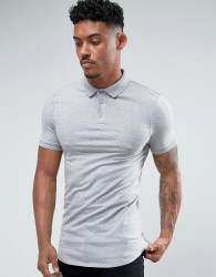 ASOS Extreme Muscle Polo In Jersey With Curved Hem In Grey Marl - Grey