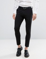 ASOS Extreme Super Skinny Crop Smart Trousers in Black - Black