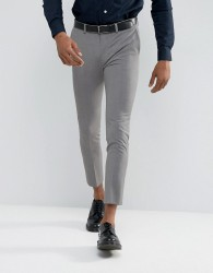 ASOS Extreme Super Skinny Cropped Smart Trousers in Mid Grey - Grey
