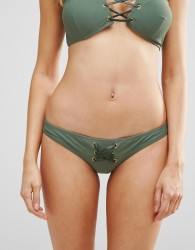 ASOS Faux Leather Trim Tie Front Bikini Bottom - Green
