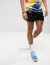 ASOS FESTIVAL Runner Shorts In Shiny Black - Black
