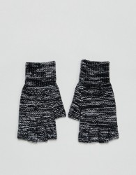ASOS Fingerless Gloves In Black Twist - Black