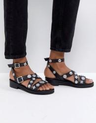 ASOS FINISH Western Leather Flat Sandals - Black
