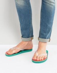 ASOS Flip Flops In Hawaiian Print - Green