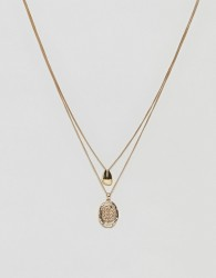 ASOS Fluid Shape and Coin Multirow Necklace - Gold