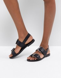 ASOS FOR ONCE Leather Studded Flat Sandals - Black
