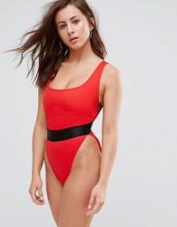 ASOS FULLER BUST High Leg Elastic Waist Swimsuit DD-G - Red