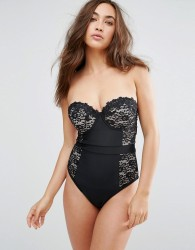 ASOS FULLER BUST Premium Lace Cupped Swimsuit DD-G - Black