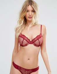 ASOS FULLER BUST Ria Basic Lace Mix & Match Plunge Padded Bra - Red
