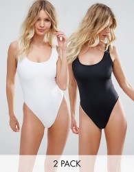 ASOS FULLER BUST Supportive Scoop Front Swimsuit Multipack DD-G - Multi