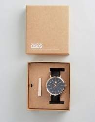 ASOS Gift Set With Watch And Tie Bar In Rose Gold - Black