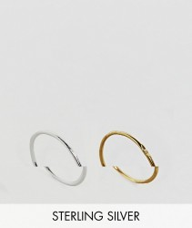 ASOS Gold Plated Sterling Silver Pack of 2 Mixed Rings - Multi