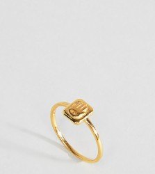 ASOS Gold Plated Sterling Silver Vintage Style Hand Tag Ring - Gold