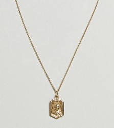 ASOS Gold Plated Sterling Silver Vintage Style Icon Pendant Necklace - Gold