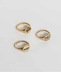 ASOS Gold Signet Ring Pack With City Names In Burnished Gold - Gold