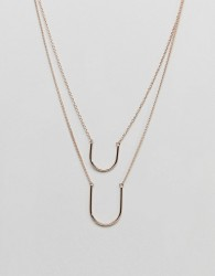 ASOS Half Oval Pendant Multirow Necklace - Brown