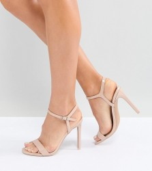 ASOS HANDS DOWN Wide Fit Barely There Heeled Sandals - Beige