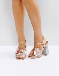 ASOS HEATHER Floral Embellished Heeled Sandals - Beige