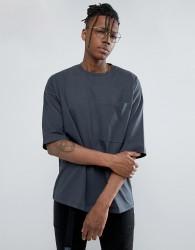 ASOS Heavyweight Oversized T-Shirt With Oversized Pocket - Grey