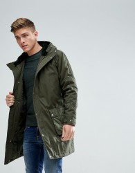 ASOS Heavyweight Parka With Embroidery In Khaki - Green