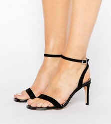 ASOS HIDEAWAY Wide Fit Heeled Sandals - Black