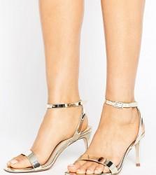 ASOS HIDEAWAY Wide Fit Heeled Sandals - Gold