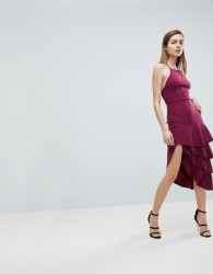 ASOS High Neck Extreme Tiered Midi Dress - Red