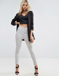 ASOS High Waist Trousers In Skinny Fit - Silver