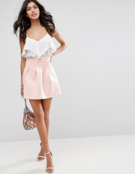 ASOS High Waisted Mini Skirt in Scuba with Lantern Detail - Pink