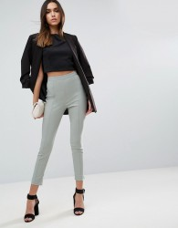 ASOS High Waisted Skinny Crop Trousers - Green