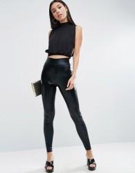 ASOS High Waisted Wet Look Leggings - Black